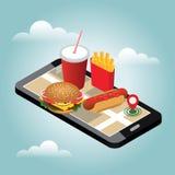 Isometric miasto Zima fasta food dostarczać Fast Food restauracja Śnieżny zima dzień Mobilny gmeranie Geo tropić mapa Obrazy Stock