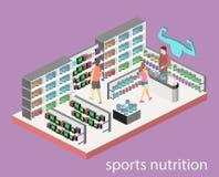 Isometric mieszkania cutaway 3D odizolowywający wnętrze sportów nadprogramy ilustracja wektor