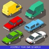 Isometric mieszkania 3d pojazdu set royalty ilustracja