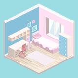 Isometric mieszkanie 3D odizolowywał wewnętrzne dziewczyny wszystkie różowy sypialni wnętrze royalty ilustracja