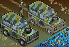 Isometric Military Jeep with Soldier in Front View Royalty Free Stock Image