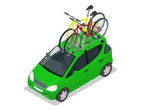 Isometric Mini car with two bicycles mounted on the roof rack. Flat style vector illustration isolated on white. Modern Mini car with two bicycles mounted on the Stock Images