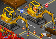 Isometric Mini Chisel Excavator in Front View Stock Images