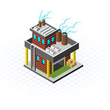 Isometric Mini Factory Vector Illustration Royalty Free Stock Images