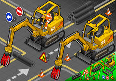 Isometric Mini Mechanical Arm Excavator in Front View. Detailed illustration of a Isometric Worker Piloting Mini Mechanical Arm Excavator in Front View This royalty free illustration