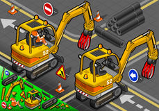 Isometric Mini Mechanical Arm Excavator in Rear View. Detailed illustration of a Isometric Worker Piloting Mini Mechanical Arm Excavator in Rear View stock illustration