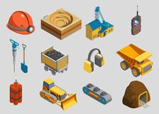 Isometric Mining Elements Set. With helmet quarry factory radio drill shovel trolley protective headphones truck dynamite bulldozer conveyor mine isolated Stock Images