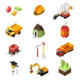 Isometric Mining Industry Elements Set. With vehicles pick helmet diamonds dynamite trolley shovel drill trees isolated vector illustration stock illustration