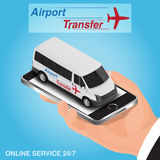 Isometric mobile app online airport transfer order concept. Isometric mobile app online airport transfer order concept Royalty Free Stock Photography