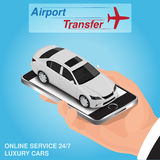 Isometric mobile app online airport transfer order concept.  Royalty Free Stock Images