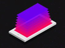 Isometric mobile application concept in flat colors. Isometric mobile application concept in flat colors Stock Images