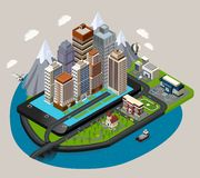 Isometric Mobile City Concept Stock Images