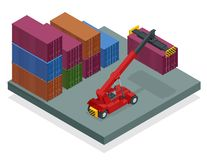 Isometric Mobile Container Handler in action at a container terminal. Crane lifts container handler Isolated vector stock illustration