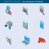 Isometric mobile gadgets and technology icons set vector illustr Stock Image