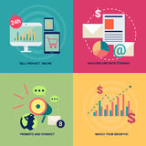 Isometric mobile gadgets and technology icons set vector illustr Stock Photography