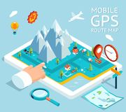 Isometric mobile GPS navigation flat map Royalty Free Stock Images