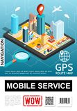 Isometric Mobile Navigation Service Poster stock images