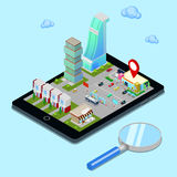 Isometric Mobile Navigation. Tourism Industry. Modern City on the Tablet Screen Royalty Free Stock Photo