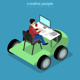 Isometric Mobile Office business Flat 3d man table Royalty Free Stock Image