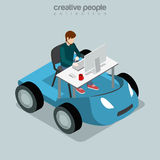 Isometric Mobile Office business Flat 3d man table Royalty Free Stock Photo