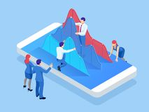 Isometric mobile phone with chart diagram. Business trend analysis. Concept of mobile payments, personal data protection vector illustration
