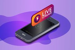 Isometric mobile phone and instagram live video stream icon. instagram online streaming via smartphone. royalty free illustration