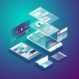 Isometric mobile phone. Smart and simple web interface with different apps and icons. 3d vector illustration. Isometric mobile phone. Smart and simple web Stock Photos
