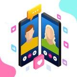 Isometric mobilna goniec gadka, online rozmowa z texting wiadomością również zwrócić corel ilustracji wektora Obraz Royalty Free