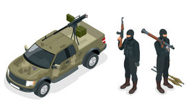 Isometric model of pickup truck armed with machine gun. Spec ops police officers SWAT in black uniform. Soldier, officer Stock Images