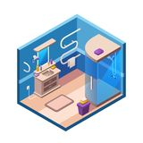 isometric modern bathroom interior royalty free illustration