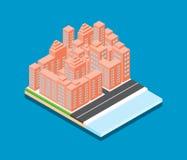 Isometric city vector design on blue background stock illustration