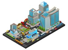 Isometric Modern Cityscape Concept. With office living supermarket school buildings public transport people metro station isolated vector illustration Stock Photo