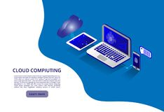 Isometric modern cloud technology and networking concept. Web cloud technology business. Cloud computing online storage royalty free illustration