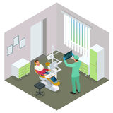 Isometric Modern dental practice. Dental chair and other accessories used by dentists in blue, medic, reception, detail Royalty Free Stock Image