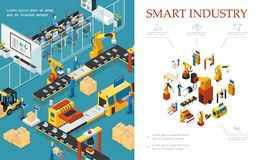 Isometric Modern Industrial Production Composition. With automated assembly and packaging lines robotic arms engineers operators vector illustration royalty free illustration
