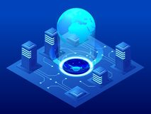 Free Isometric Modern Server Room, Cybersecurity Infrastructure, Big Data Storage And Cloud Computing Technology Concept. Royalty Free Stock Photo - 138781745