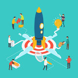 Isometric modern startup concept with people and rocket. Royalty Free Stock Photo