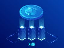 Isometric Monero XMR Cryptocurrency mining farm. Blockchain technology, cryptocurrency and a digital payment network for vector illustration