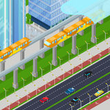 Isometric Monorail Railway Train in Modern City with Skyscrapers Royalty Free Stock Images