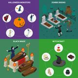 Monster Halloween Icon Set. Isometric monster halloween icon set with zombie rising black magic witchcraft descriptions vector illustration Stock Images