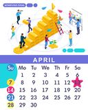 Isometric month April from set calendar of 2019. Business plan to achieve the goal. Concept creating a business strategy. Isometric people on a white vector illustration