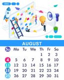 Isometric month August from set calendar of 2019. Concept of creating a business idea. Concept creating a business strategy. Isometric people on a white royalty free illustration