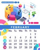 Isometric month February from set calendar of 2019. Financial administration concept. Concept creating a business strategy. Isometric people on a white stock illustration