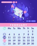 Isometric month February from set calendar of 2019. People work together in Internet industry. Characters make an online schedule. Graphic Business planning stock illustration