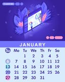 Isometric month January from set calendar of 2019. Concept of teamwork, people work together in the web industry. Concept of creating a business strategy vector illustration