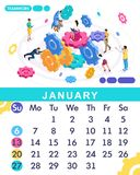 Isometric month January from set calendar of 2019. Teamwork concept banner. Concept of creating a business strategy. Isometric people on a white background stock illustration