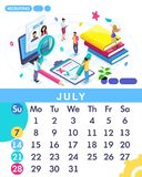 Isometric month July from set calendar of 2019. Staff search, recruiting. Concept creating a business strategy. Isometric people on a white background royalty free illustration