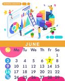 Isometric month June from set calendar of 2019. Business analysis. Concept creating a business strategy. Isometric people on a white background royalty free illustration