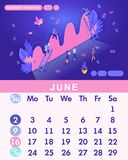 Isometric month June from set calendar of 2019. People work, Business analysis. Concept creating a business strategy.  vector illustration