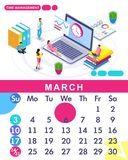 Isometric month March from set calendar of 2019. Time management banner. Concept creating a business strategy. Isometric people on a white background stock illustration